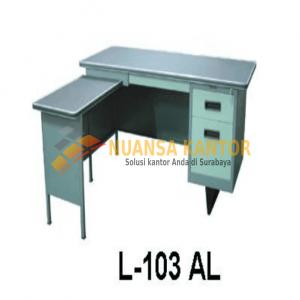 jual Meja Kantor Besi Dengan Laci + Meja Samping type L-103 AL surabaya