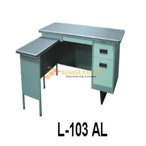 Meja Kantor Besi Dengan Laci + Meja Samping type L-103 AL